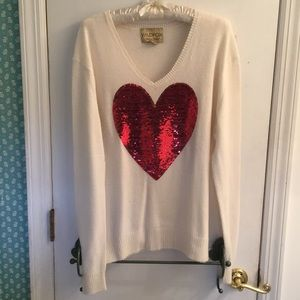 WildFox White Label Angora Heart Sweater, Small